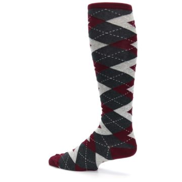 Image of Burgundy Gray Argyle Men's Over-the-Calf Dress Socks (side-2-13)