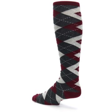 Image of Burgundy Gray Argyle Men's Over-the-Calf Dress Socks (side-2-back-14)