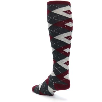 Image of Burgundy Gray Argyle Men's Over-the-Calf Dress Socks (side-2-back-15)