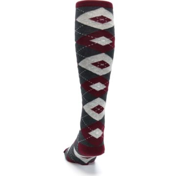 Image of Burgundy Gray Argyle Men's Over-the-Calf Dress Socks (back-17)