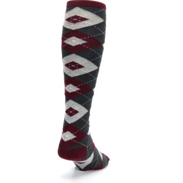 Image of Burgundy Gray Argyle Men's Over-the-Calf Dress Socks (side-1-back-20)