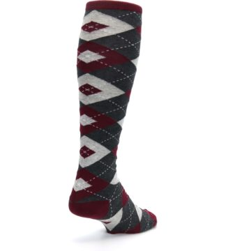 Image of Burgundy Gray Argyle Men's Over-the-Calf Dress Socks (side-1-back-21)