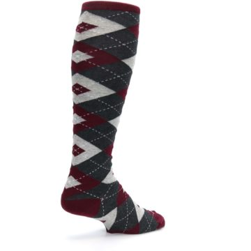 Image of Burgundy Gray Argyle Men's Over-the-Calf Dress Socks (side-1-back-22)