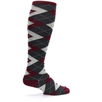 Image of Burgundy Gray Argyle Men's Over-the-Calf Dress Socks (side-1-23)
