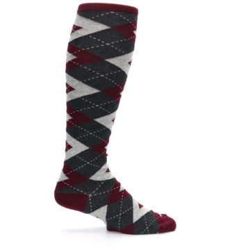 Image of Burgundy Gray Argyle Men's Over-the-Calf Dress Socks (side-1-24)
