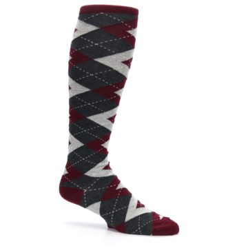 Image of Burgundy Gray Argyle Men's Over-the-Calf Dress Socks (side-1-25)