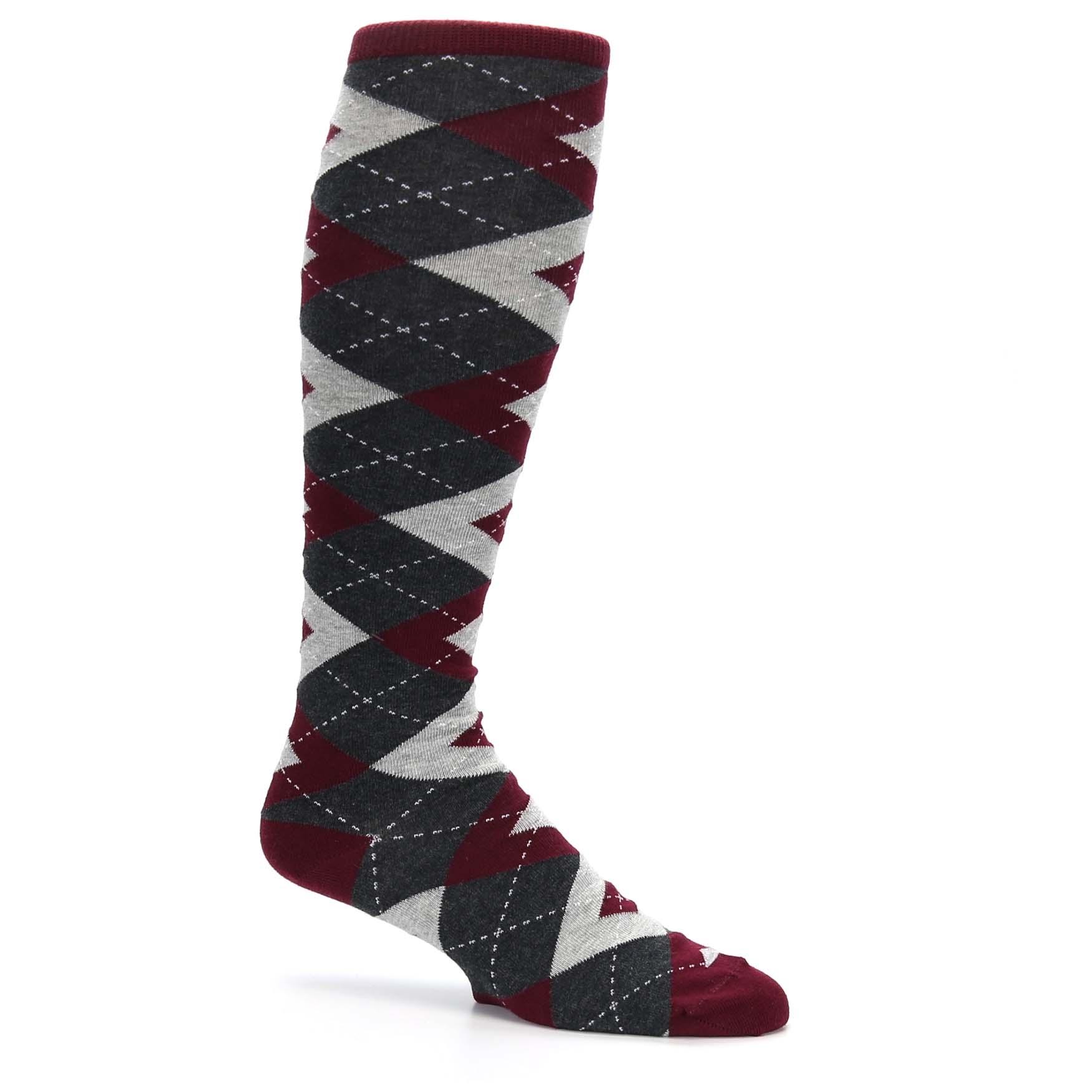2f1afd24f29f Burgundy Gray Argyle Men's Over-the-Calf Dress Socks - Statement Sockwear