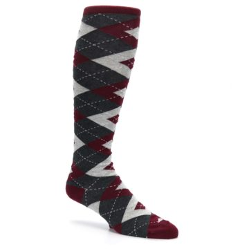 Image of Burgundy Gray Argyle Men's Over-the-Calf Dress Socks (side-1-26)