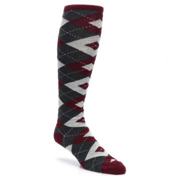 Image of Burgundy Gray Argyle Men's Over-the-Calf Dress Socks (side-1-27)