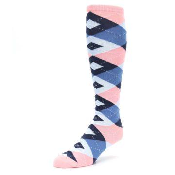 Image of Pink Blue Navy Argyle Men's Over-the-Calf Dress Socks (side-2-front-08)