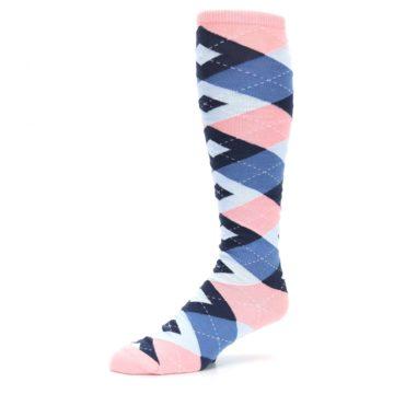 Image of Pink Blue Navy Argyle Men's Over-the-Calf Dress Socks (side-2-09)