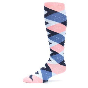 Image of Pink Blue Navy Argyle Men's Over-the-Calf Dress Socks (side-2-10)