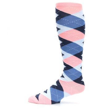 Image of Pink Blue Navy Argyle Men's Over-the-Calf Dress Socks (side-2-11)