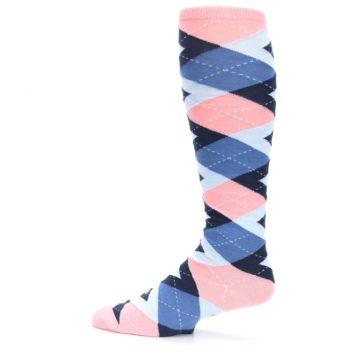 Image of Pink Blue Navy Argyle Men's Over-the-Calf Dress Socks (side-2-12)