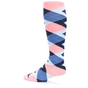 Image of Pink Blue Navy Argyle Men's Over-the-Calf Dress Socks (side-2-13)