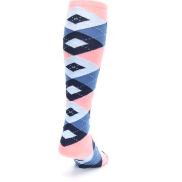 Image of Pink Blue Navy Argyle Men's Over-the-Calf Dress Socks (side-1-back-20)