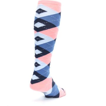 Image of Pink Blue Navy Argyle Men's Over-the-Calf Dress Socks (side-1-back-21)