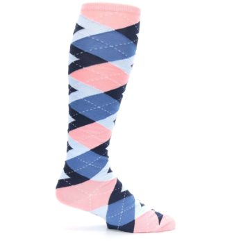 Image of Pink Blue Navy Argyle Men's Over-the-Calf Dress Socks (side-1-24)