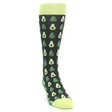 Image of Green Gray Avocados Men's Dress Socks (side-1-front-03)