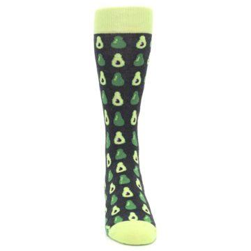 Image of Green Gray Avocados Men's Dress Socks (front-04)
