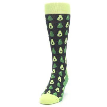 Image of Green Gray Avocados Men's Dress Socks (side-2-front-06)