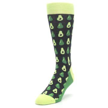 Image of Green Gray Avocados Men's Dress Socks (side-2-front-07)