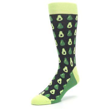 Image of Green Gray Avocados Men's Dress Socks (side-2-front-08)