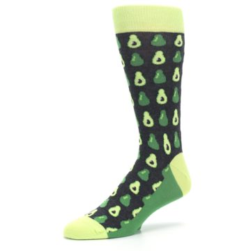 Image of Green Gray Avocados Men's Dress Socks (side-2-09)