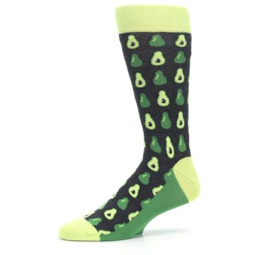 Image of Green Gray Avocados Men's Dress Socks (side-2-10)
