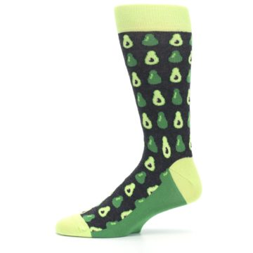 Image of Green Gray Avocados Men's Dress Socks (side-2-11)