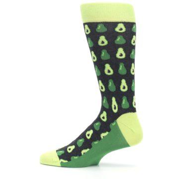 Image of Green Gray Avocados Men's Dress Socks (side-2-12)
