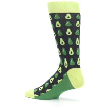 Image of Green Gray Avocados Men's Dress Socks (side-2-13)
