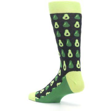 Image of Green Gray Avocados Men's Dress Socks (side-2-back-14)
