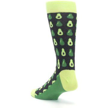 Image of Green Gray Avocados Men's Dress Socks (side-2-back-15)