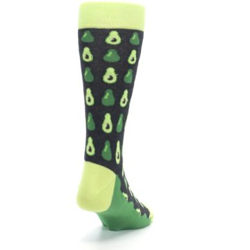 Image of Green Gray Avocados Men's Dress Socks (side-1-back-20)