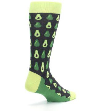 Image of Green Gray Avocados Men's Dress Socks (side-1-back-22)