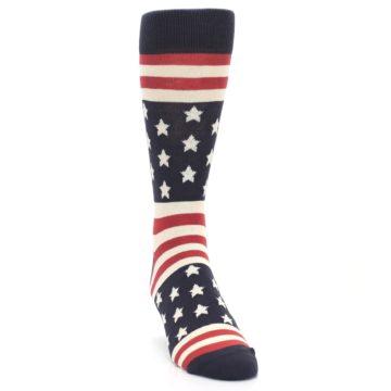 Image of Rustic Red Navy American Flag Men's Dress Socks (side-1-front-03)