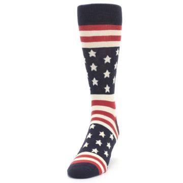 Image of Rustic Red Navy American Flag Men's Dress Socks (side-2-front-06)
