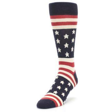 Image of Rustic Red Navy American Flag Men's Dress Socks (side-2-front-07)