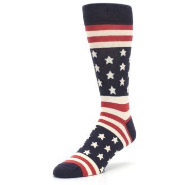 Image of Rustic Red Navy American Flag Men's Dress Socks (side-2-front-08)