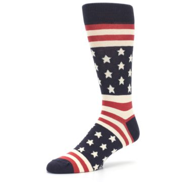 Image of Rustic Red Navy American Flag Men's Dress Socks (side-2-09)