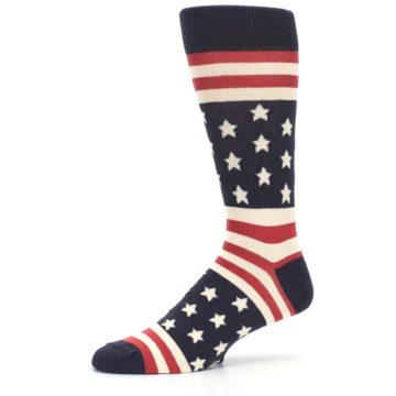 Image of Rustic Red Navy American Flag Men's Dress Socks (side-2-10)