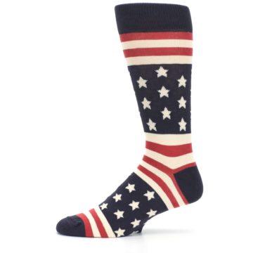 Image of Rustic Red Navy American Flag Men's Dress Socks (side-2-11)