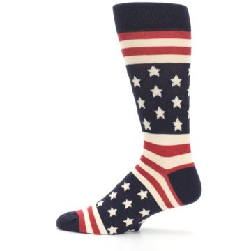 Image of Rustic Red Navy American Flag Men's Dress Socks (side-2-12)
