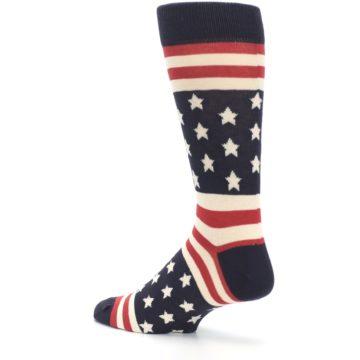 Image of Rustic Red Navy American Flag Men's Dress Socks (side-2-back-14)