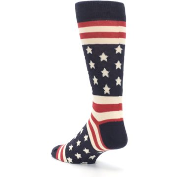 Image of Rustic Red Navy American Flag Men's Dress Socks (side-2-back-15)
