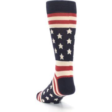 Image of Rustic Red Navy American Flag Men's Dress Socks (side-2-back-16)