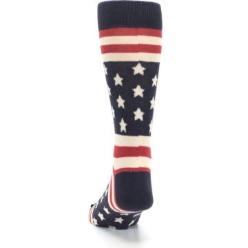 Image of Rustic Red Navy American Flag Men's Dress Socks (back-17)