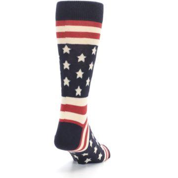 Image of Rustic Red Navy American Flag Men's Dress Socks (side-1-back-20)