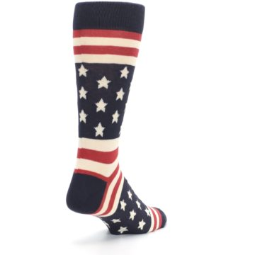 Image of Rustic Red Navy American Flag Men's Dress Socks (side-1-back-21)